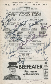 VERY GOOD EDDIE PLAY CAST - SHOW BILL SIGNED CO-SIGNED BY: TRAVIS HUDSON, CHARLES REPOLE, JON ENGSTROM, VIRGINIA SEIDEL MILLER, NICHOLAS WYMAN, CYNTHIA WELLS, SPRING FAIRBANK, DAVID CHRISTMAS, JAMES HARDER, JOEL CRAIG, RUSS BEASLEY, ROBIN HERBERT