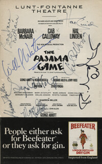 Autographs: THE PAJAMA GAME PLAY CAST - SHOW BILL SIGNED CO-SIGNED BY: WILLARD WATERMAN, MARY JO CATLETT, CAB CALLOWAY, BARBARA McNAIR, HAL LINDEN, RICHARD ALDER, SHARRON MILLER