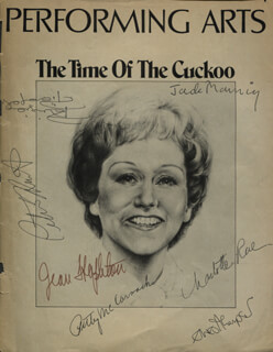 THE TIME OF THE CUCKOO PLAY CAST - SHOW BILL COVER SIGNED CO-SIGNED BY: CHARLOTTE RAE, PATRICIA McCORMACK, JEAN STAPLETON, JACK MANNING, ERNEST THOMPSON, PATRIZIA PIERANGELI, PETER HIRST