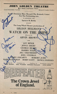 WATCH ON THE RHINE PLAY CAST - SHOW BILL SIGNED CO-SIGNED BY: JILL EIKENBERRY, JAN MINER, JOYCE EBERT, HARRIS YULIN