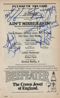 Autographs: AIN'T MISBEHAVIN' BROADWAY CAST - SHOW BILL SIGNED CO-SIGNED BY: ADRIANE LENOX, ROZ RYAN, TERESA BOWERS, KEN PRYMUS