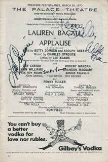 Autographs: APPLAUSE PLAY CAST - SHOW BILL SIGNED CO-SIGNED BY: LEN CARIOU, ADOLPH GREEN, PENNY FULLER, LEE ROY REAMS