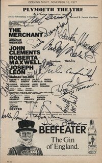 THE MERCHANT PLAY CAST - SHOW BILL SIGNED CO-SIGNED BY: JOHN CLEMENTS, RUSS BANHAM, MARIAN SELDES, EVERETT McGILL, ROBERTA MAXWELL, NICOLAS SUROVY, JULIE GARFIELD, WILLIAM ROERICK, JOSEPH LEON, GLORIA GIFFORD, LEIB LENSKY, RIGGS O'HARA, BORIS TUMARIN, ARNOLD WESKER