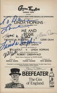 Autographs: ME AND BESSIE PLAY CAST - INSCRIBED SHOW BILL SIGNED CO-SIGNED BY: LINDA HOPKINS, WILL HOLT, GERRI DEAN, THOMAS M. POLLARD