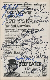 POOR MURDERER PLAY CAST - SHOW BILL SIGNED CO-SIGNED BY: LAURENCE LUCKINBILL, KEVIN McCARTHY, RUTH FORD, MARIA SCHELL, JAMES CARRUTHERS, ERNEST GRAVES, JULIE GARFIELD, LARRY GATES, PATRICIA ZIPPRODT, HERBERT BERGHOF, PETER MALONEY, FELICIA MONTEALEGRE