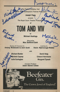 TOM AND VIV PLAY CAST - SHOW BILL SIGNED CO-SIGNED BY: EDWARD HERRMANN, MARGARET TYZACK, RICHARD BUTLER, MICHELE COPSEY, DAVID HAIG, JULIE COVINGTON