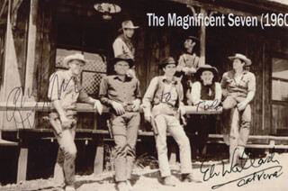 THE MAGNIFICENT SEVEN MOVIE CAST - INSCRIBED PRINTED PHOTOGRAPH SIGNED IN INK CO-SIGNED BY: ROBERT VAUGHN, ELI WALLACH