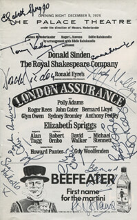 Autographs: LONDON ASSURANCE PLAY CAST - SHOW BILL SIGNED CO-SIGNED BY: ROGER REES, DONALD SINDEN, SUE NICHOLLS, JOHN CATER, BERNARD LLOYD, ELIZABETH SPRIGGS, ANDY MULLIGAN, GLYN OWEN, DOUGLAS ANDERSON, POLLY ADAMS, SYDNEY BROMLEY, ANTHONY PEDLEY