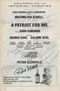 Autographs: A PATRIOT FOR ME PLAY CAST - SHOW BILL SIGNED CO-SIGNED BY: RICHARD JORDAN, DENNIS KING, SALOME JENS, KEENE CURTIS, WARREN BURTON, ED ZIMMERMANN, ROBERT STATTEL