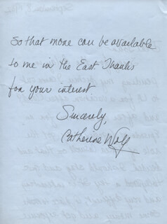 CATHERINE WAY - AUTOGRAPH LETTER SIGNED 09/08/1982