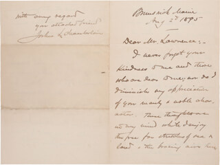 MAJOR GENERAL JOSHUA LAWRENCE CHAMBERLAIN - AUTOGRAPH LETTER SIGNED 08/25/1895