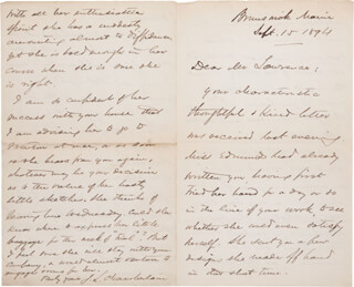 Autographs: MAJOR GENERAL JOSHUA LAWRENCE CHAMBERLAIN - AUTOGRAPH LETTER SIGNED 09/15/1894