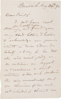 Autographs: MAJOR GENERAL JOSHUA LAWRENCE CHAMBERLAIN - AUTOGRAPH LETTER SIGNED 08/30/1896