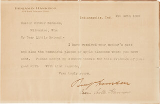 PRESIDENT BENJAMIN HARRISON - TYPED LETTER SIGNED 02/12/1889 CO-SIGNED BY: FIRST LADY CAROLINE SCOTT HARRISON