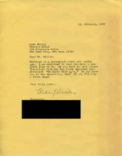 MARY WICKES - TYPED LETTER SIGNED 02/12/1980