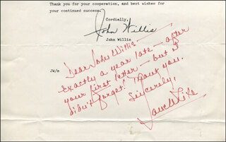JANE WHITE - AUTOGRAPH NOTE SIGNED
