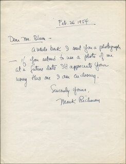 PETER MARK RICHMAN - AUTOGRAPH LETTER SIGNED 02/26/1954