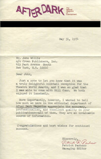 Autographs: PATRICK PACHECO - TYPED LETTER SIGNED 05/31/1974