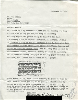 DORIS HOLLIS PEMBERTON - TYPED LETTER SIGNED 02/14/1979