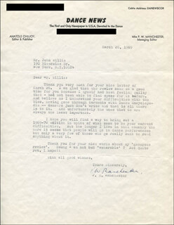 P.W. BILL MANCHESTER - TYPED LETTER SIGNED 03/28/1969