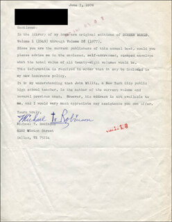 MICHAEL T. ROBINSON - TYPED LETTER SIGNED 06/07/1978