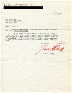 JACK MITCHELL - TYPED LETTER SIGNED 12/10/1966