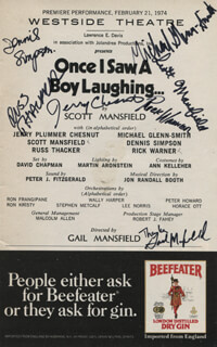 ONCE I SAW A BOY LAUGHING... PLAY CAST - SHOW BILL SIGNED CO-SIGNED BY: MICHAEL GLENN-SMITH, SCOTT MANSFIELD, DENNIS SIMPSON, RUSS THACKER, JERRY PLUMMER CHESNUT, RICHARD WARNER, GAIL MANSFIELD