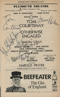 OTHERWISE ENGAGED PLAY CAST - SHOW BILL SIGNED CO-SIGNED BY: TOM COURTENAY, NICOLAS COSTER, JOHN HORTON, LYNN MILGRIM, JOHN CHRISTOPHER JONES