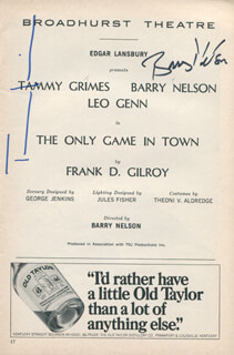 Autographs: THE ONLY GAME IN TOWN PLAY CAST - SHOW BILL SIGNED CO-SIGNED BY: TAMMY GRIMES, BARRY NELSON