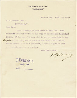 PRESIDENT WARREN G. HARDING - TYPED LETTER SIGNED 06/19/1903