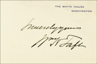 Autographs: PRESIDENT WILLIAM H. TAFT - WHITE HOUSE CARD SIGNED