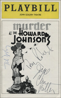 MURDER AT THE HOWARD JOHNSONS PLAY CAST - SHOW BILL SIGNED CO-SIGNED BY: TONY (ANTHONY) ROBERTS, BOB DISHY, JOYCE VAN PATTEN