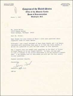 PRESIDENT GERALD R. FORD - TYPED LETTER SIGNED 03/07/1967