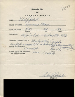 ROBERT GOULET - AUTOGRAPH RESUME SIGNED