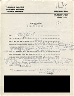 Autographs: CATHY CAHN - AUTOGRAPH RESUME SIGNED