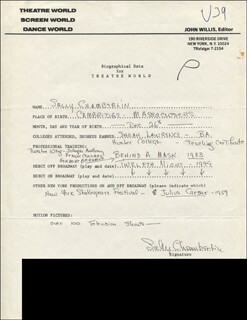 SALLY CHAMBERLIN - AUTOGRAPH RESUME SIGNED