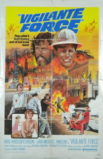 VIGILANTEE FORCE MOVIE CAST - AUTOGRAPHED SIGNED POSTER CO-SIGNED BY: KRIS KRISTOFFERSON, JAN MICHAEL VINCENT