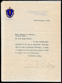 PRESIDENT CALVIN COOLIDGE - TYPED LETTER SIGNED 11/08/1920