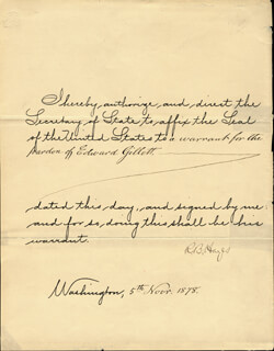 PRESIDENT RUTHERFORD B. HAYES - PRESIDENTIAL WARRANT SIGNED 11/05/1878