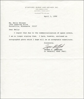 Autographs: LT. GENERAL THOMAS P. STAFFORD - TYPED LETTER SIGNED 04/03/1990