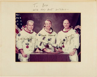 APOLLO - SOYUZ CREW - AUTOGRAPHED INSCRIBED PHOTOGRAPH CO-SIGNED BY: LT. GENERAL THOMAS P. STAFFORD, MAJOR DONALD DEKE SLAYTON, VANCE BRAND