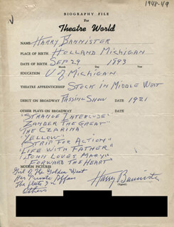 HARRY BANNISTER - AUTOGRAPH RESUME SIGNED