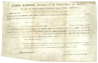 PRESIDENT JAMES MADISON - LAND GRANT SIGNED 12/20/1814 CO-SIGNED BY: JOSIAH MEIGS