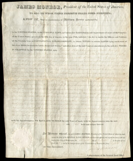 PRESIDENT JAMES MONROE - LAND GRANT SIGNED 10/07/1823 CO-SIGNED BY: GEORGE GRAHAM