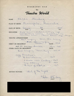 HELEN STENBORG - AUTOGRAPH RESUME SIGNED