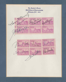 PRESIDENT GEORGE H.W. BUSH - STAMP(S) SIGNED CO-SIGNED BY: ROBERT C. BYRD, ROBERT H. MICHEL, ALAN K. SIMPSON, THOMAS P. TIP O'NEILL JR., ALAN CRANSTON, ROBERT J. BOB DOLE, TRENT LOTT, JIM WRIGHT, THOMAS S. FOLEY