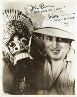 ROBERT BELIEVE IT OR NOT! RIPLEY - AUTOGRAPHED INSCRIBED PHOTOGRAPH 1934