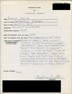 RUFUS SMITH - AUTOGRAPH RESUME SIGNED