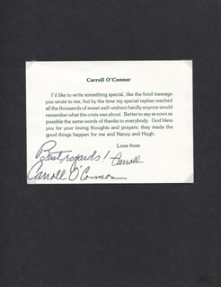CARROLL O'CONNOR - PRINTED LETTER SIGNED IN INK