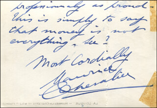 MAURICE CHEVALIER - AUTOGRAPH NOTE ON PHOTOGRAPH SIGNED 05/22/1959